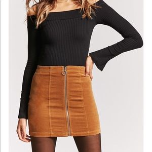 F21 Faux Suede Front Zip Corduroy Skirt